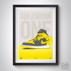 air jordan 1 yellow art print by soleaddits.com